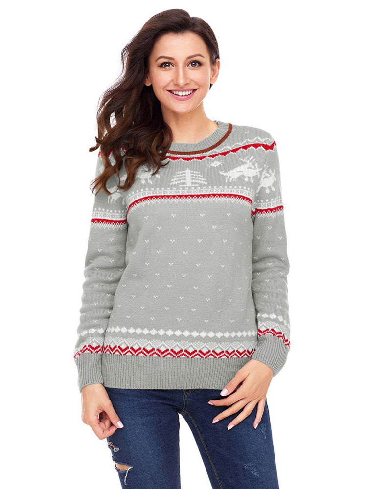 Printed sweater round neck long sleeve Christmas sweater