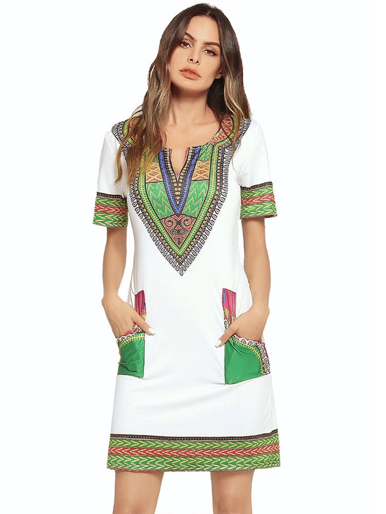 V-neck Pocket Geometric Print Dress