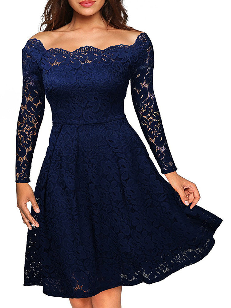 One-shoulder strapless lace A-line dress