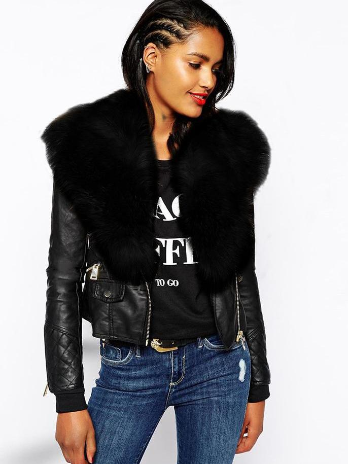 Faux Fur Collar Leather Stitching Jacket