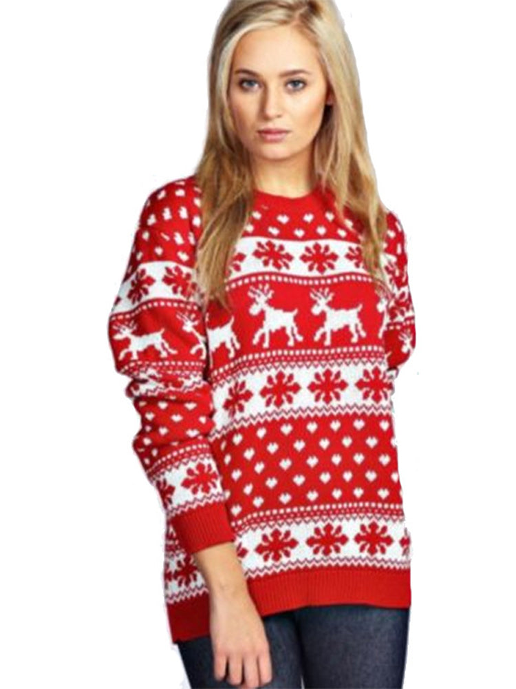 Snowflake Fawn Round Neck Long Sleeve Sweater