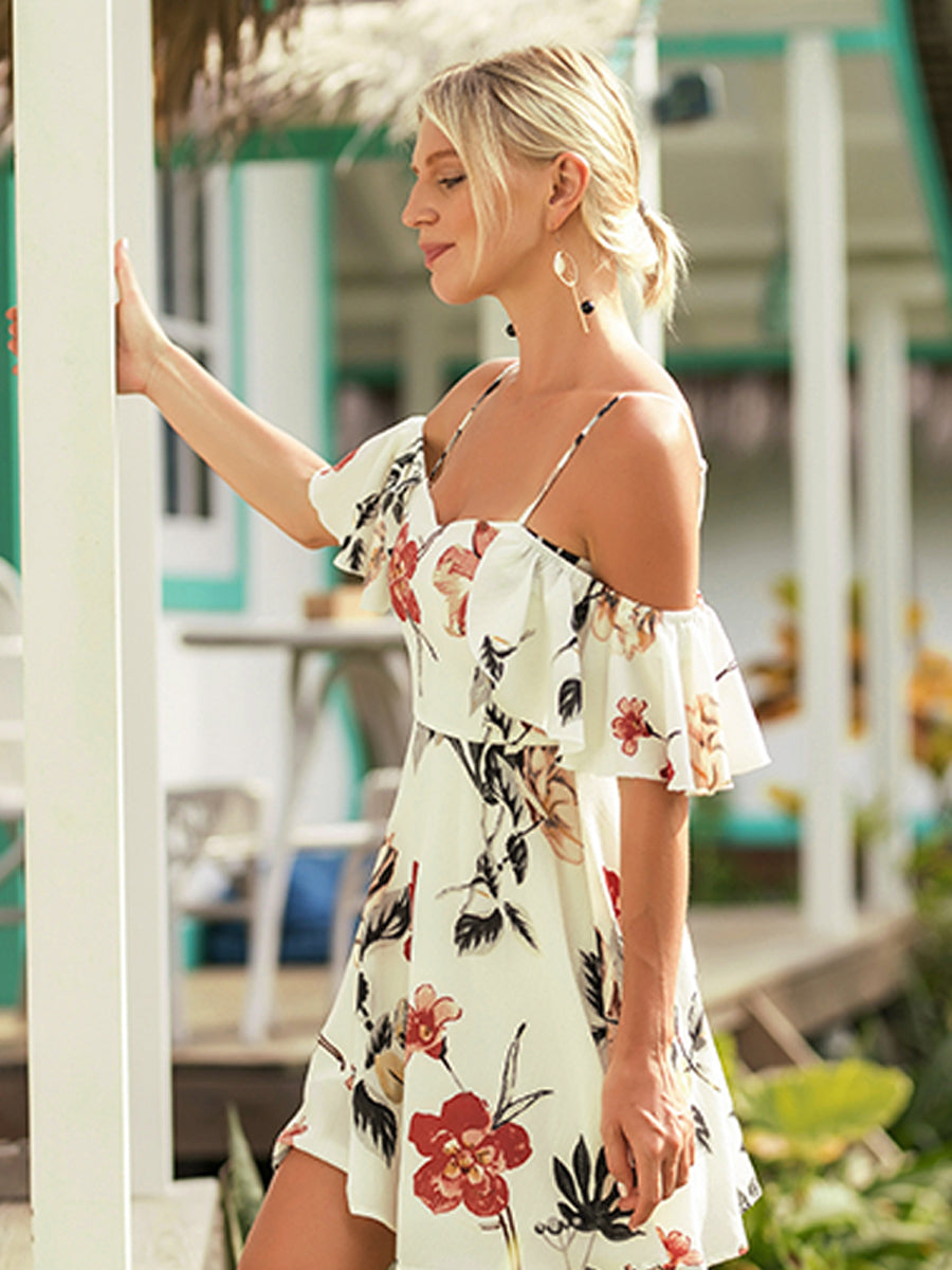 Fashion Printed Knee Length Midi Beach Day Dress