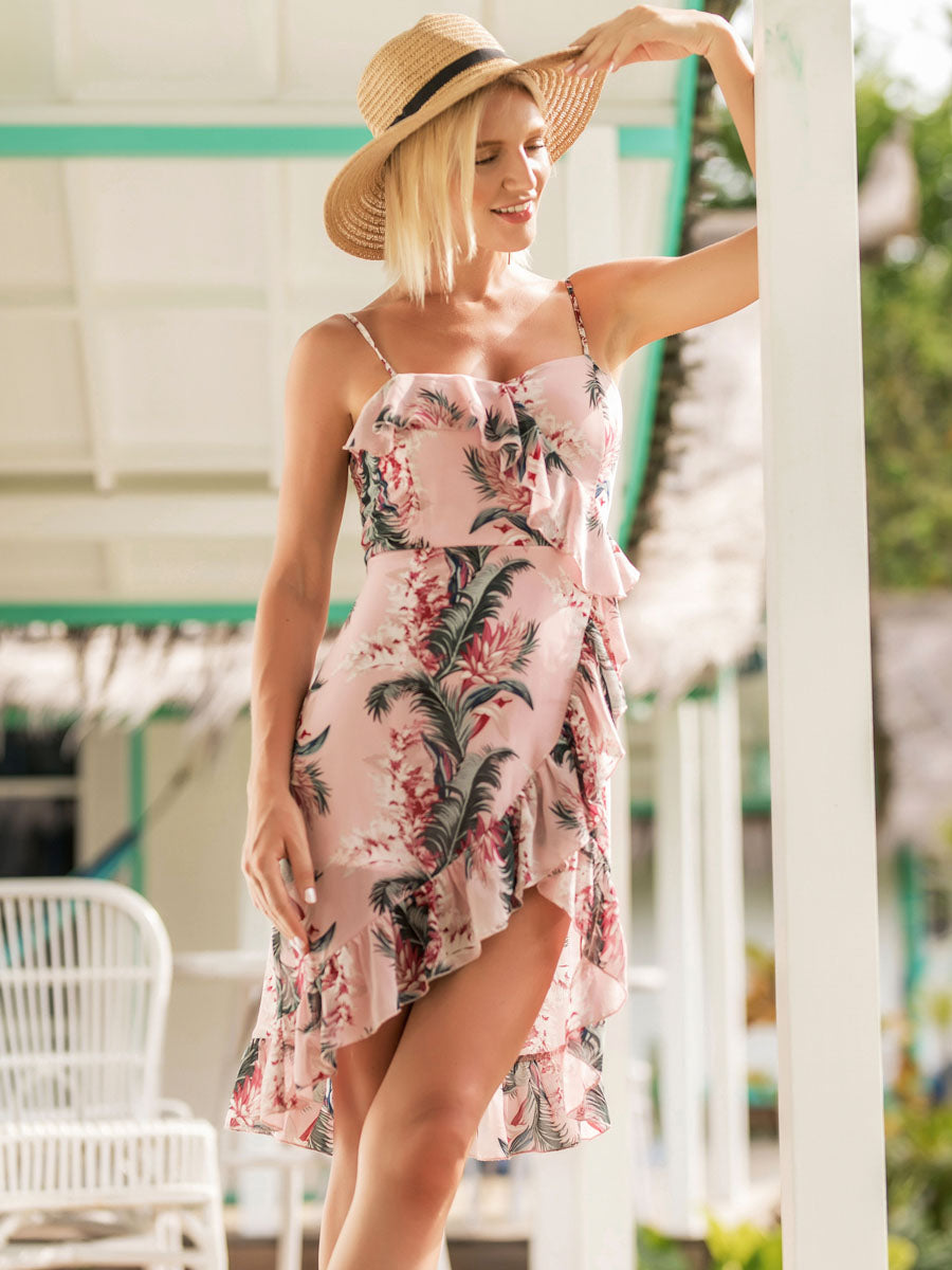High Quality Printed  With Sling Beach Day Dress