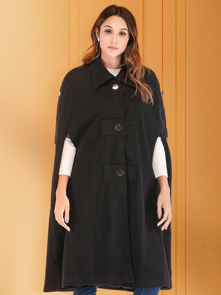 Mid-length sleeveless wool cape