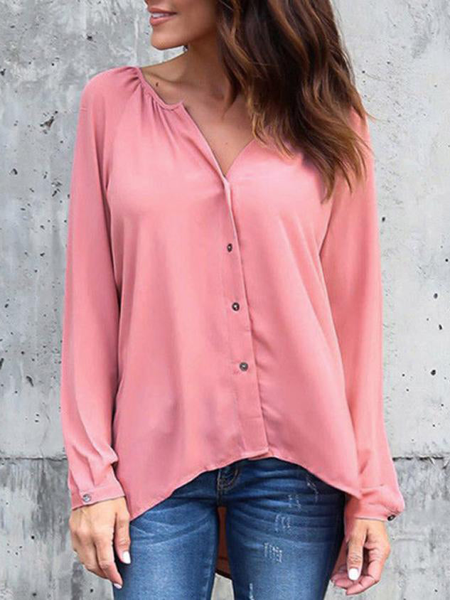 Trendy Clothes For Women V Neck Loose Casual Blouse