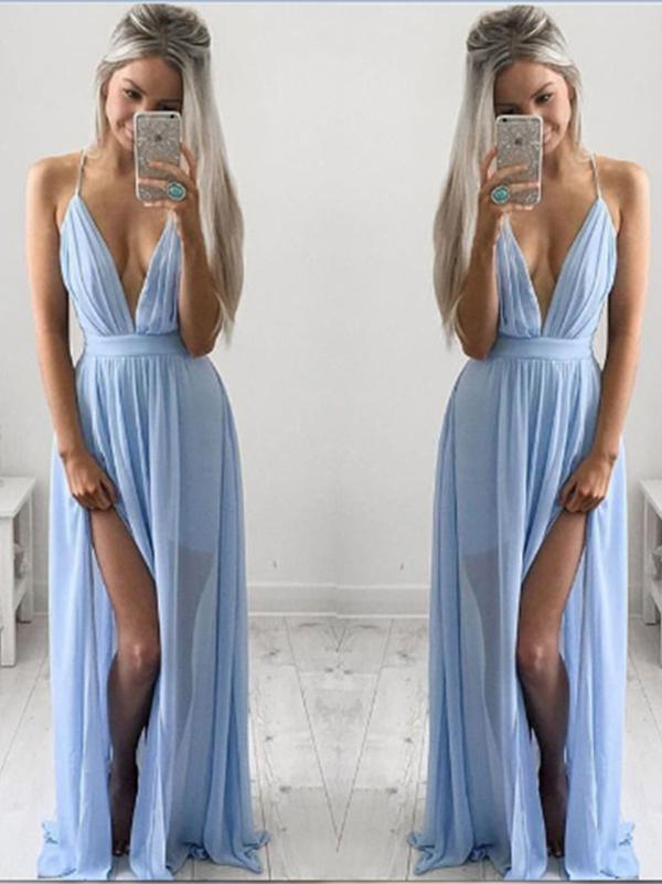 Beautiful Halter Deep V-Neck Maxi Dress Evening Dress - sparshine