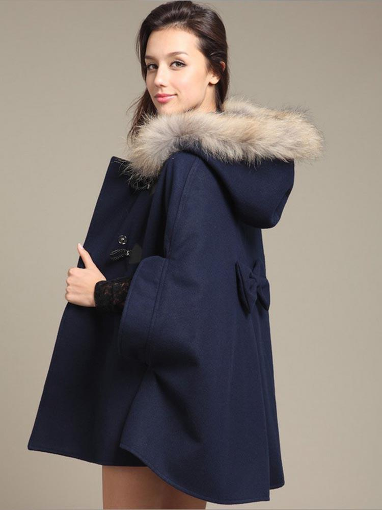 Faux Fur Single Breasted Cape Coat