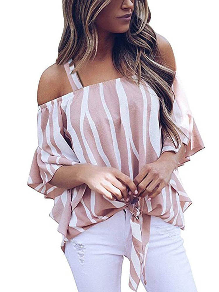 Trendy Clothes For Women Stiped  Half Sleeve Off Shoulder  Blouse