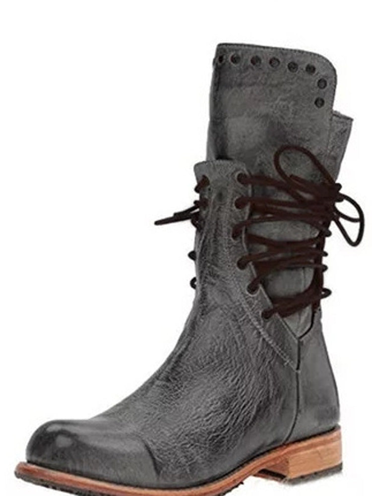 Low heel square with rivet in the tube knight boots female
