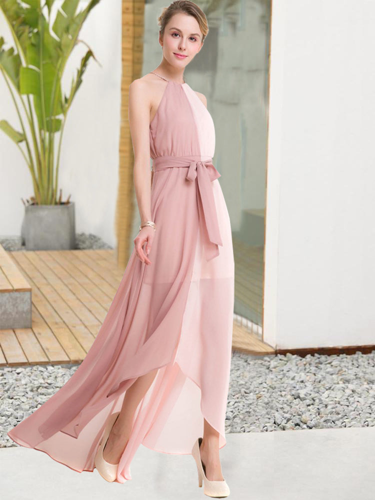 Fashion Halter Off Shoulder Belt Bandage Long Formal Dress