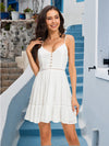 V- Neck White Color Backless  Dress