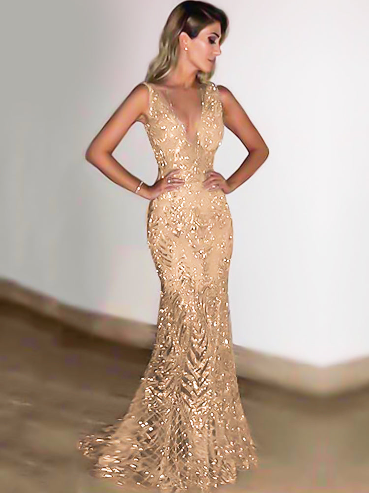 Gold Sleeveless deep V dress sequined formal dress
