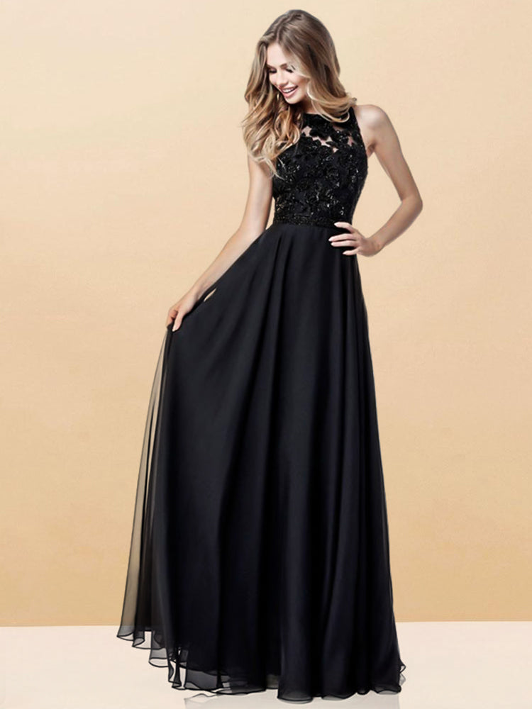 Elegant A Line Black Sexy Backless Lace Formal Dress