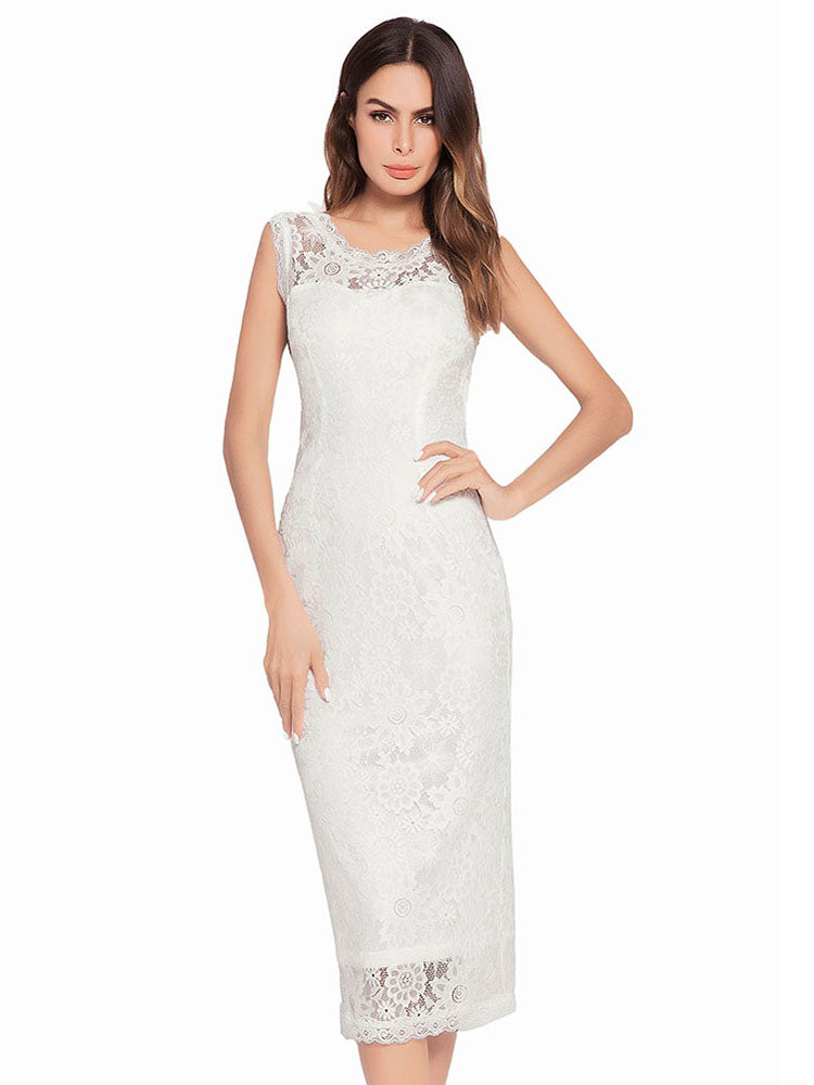 Sexy Perspective Openwork  Lace Midi Dress