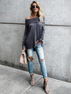 Solid Color Ruffled Off Shoulder Blouse Tops