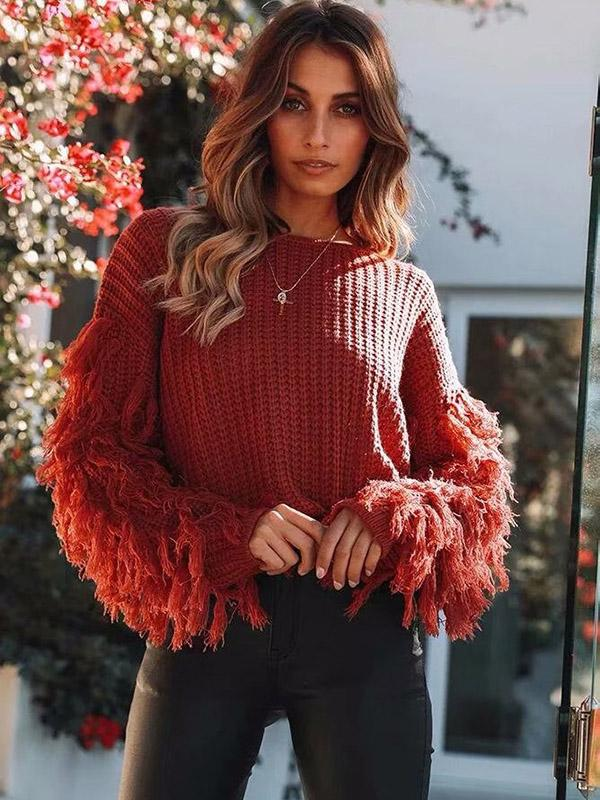 Round-neck Long Sleeves Tassel Sweater