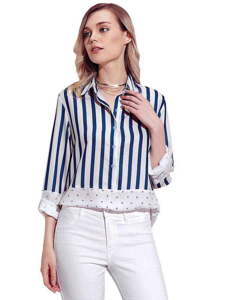 Trendy Clothes For Women Stiped Stitching Work Blouse