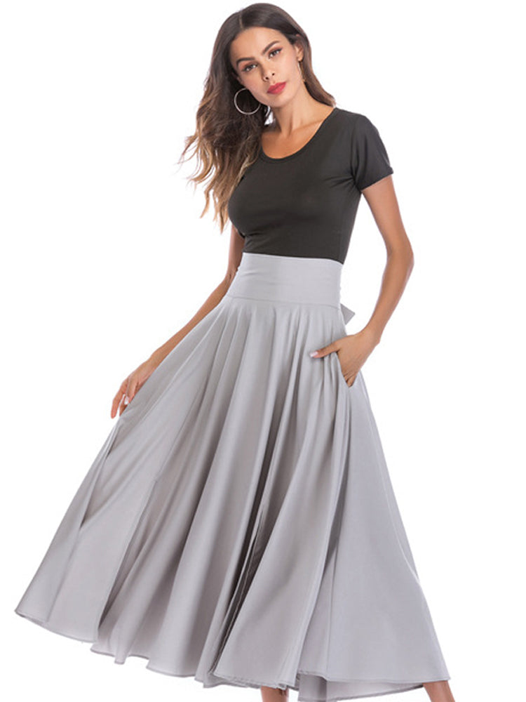 Fashion solid color big skirt long A-line skirt