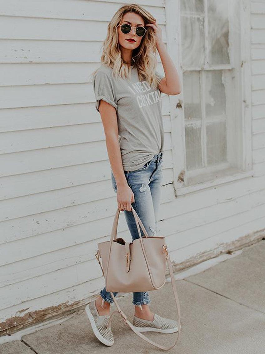 Gray Round-neck Short Sleeves Blouse