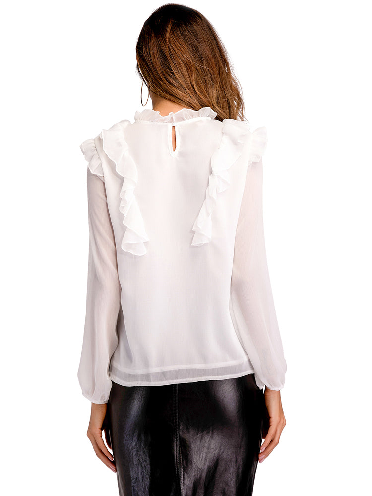 Ruffled Chiffon Blouse With Long Sleeves