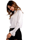 Stand Collar Long Sleeve Ruffled White Blouse