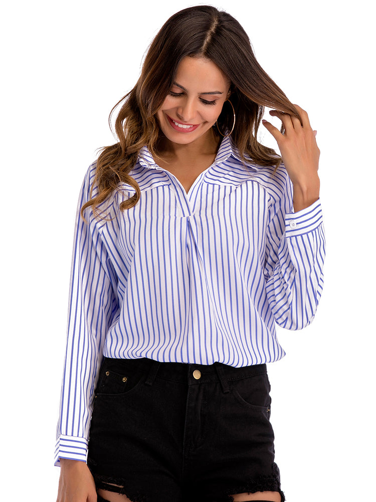 Striped Turtleneck Deep V Neck Lapel Long Sleeve Blouse