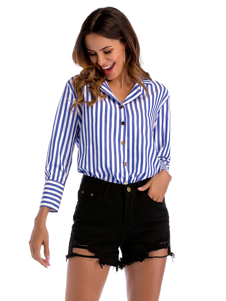 Striped Long Sleeves Shirts Tops