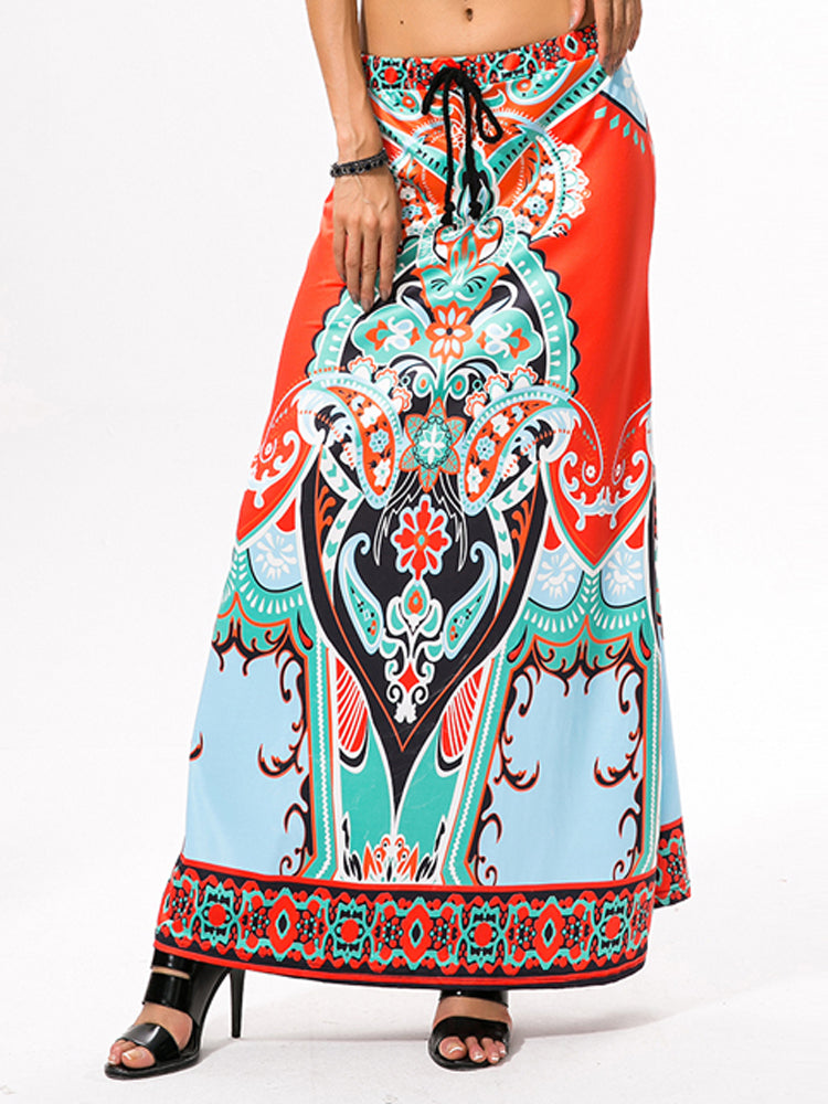 Bohemia Print One Size Lacing Skirt - sparshine