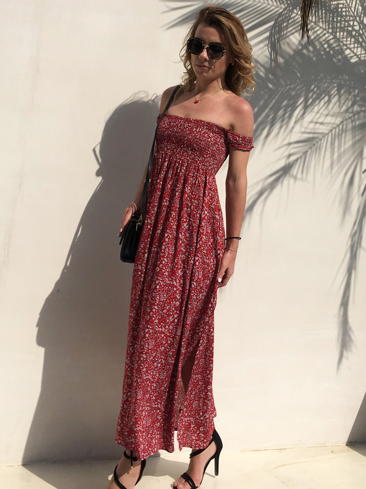2018 New Floral Printed Bandeau Basic Maxi Dresses