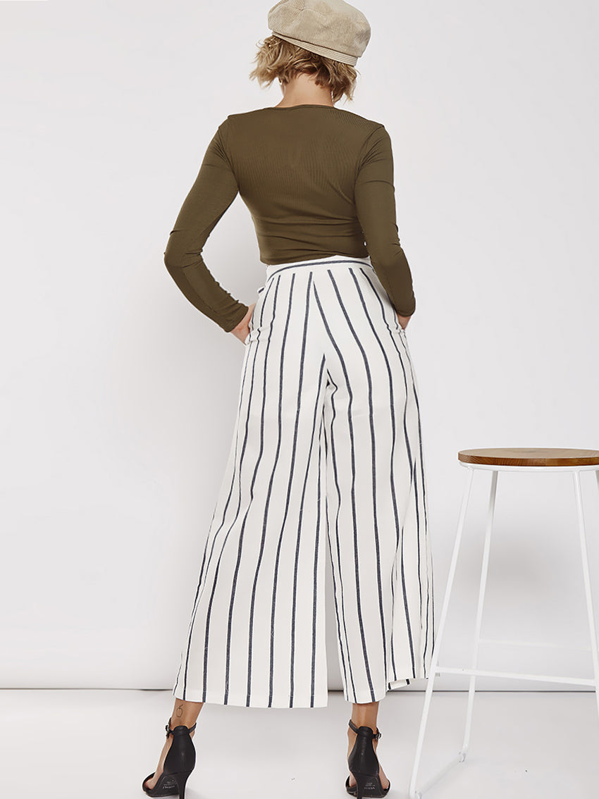 High Waist Stripe With Belt Casual Pants