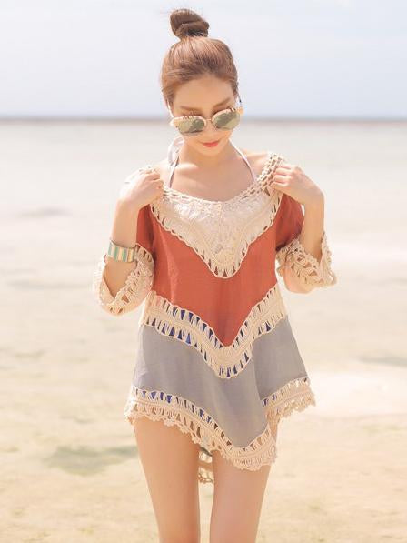 Beach Vacation Hollow 3/4 Sleeve Mask Cover-ups - sparshine