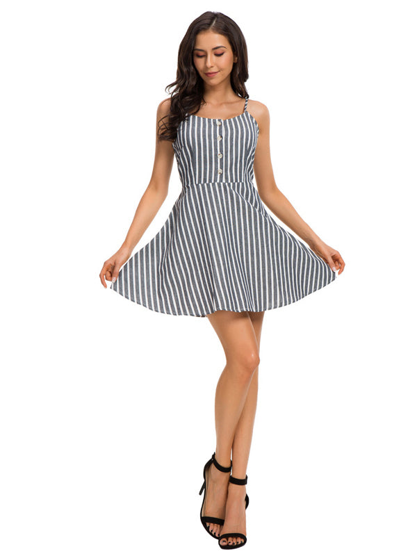 Striped Knee-length Mini Fashion Dress