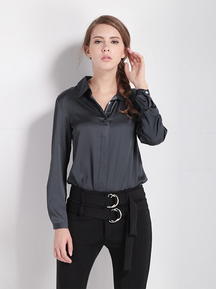 Single Breasted Solid Color Long Sleeved Blouse