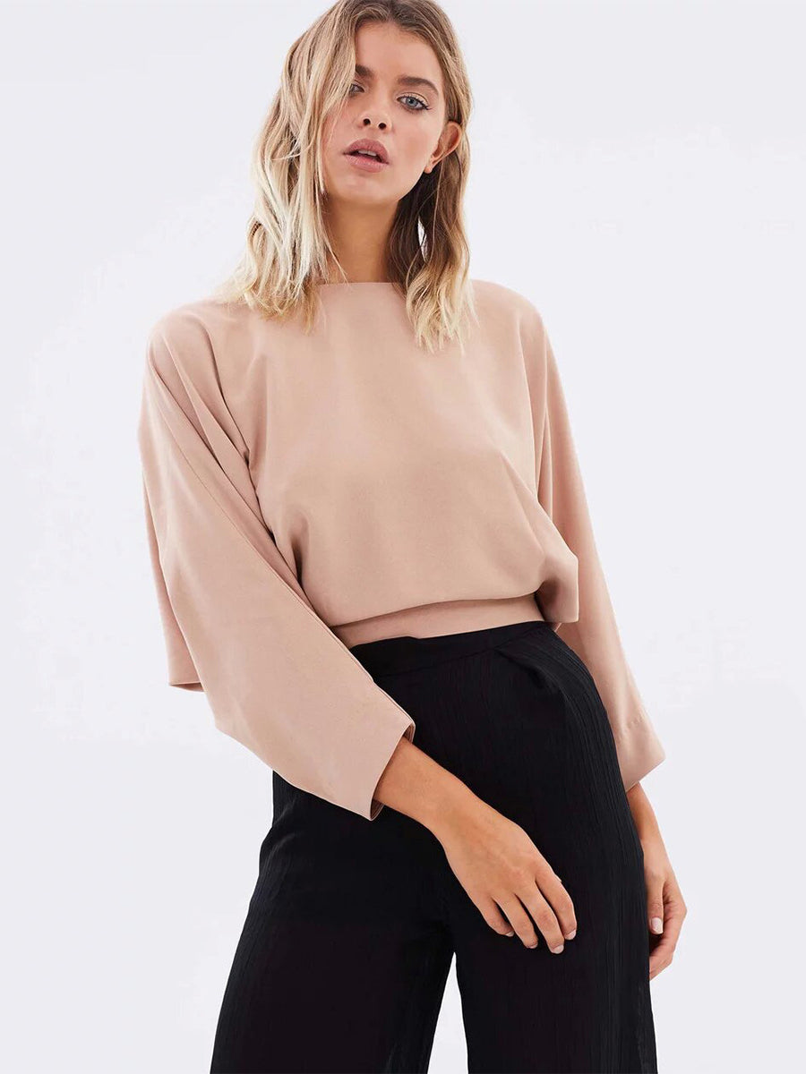 Solid Color Hollow Bat Sleeve Blouse