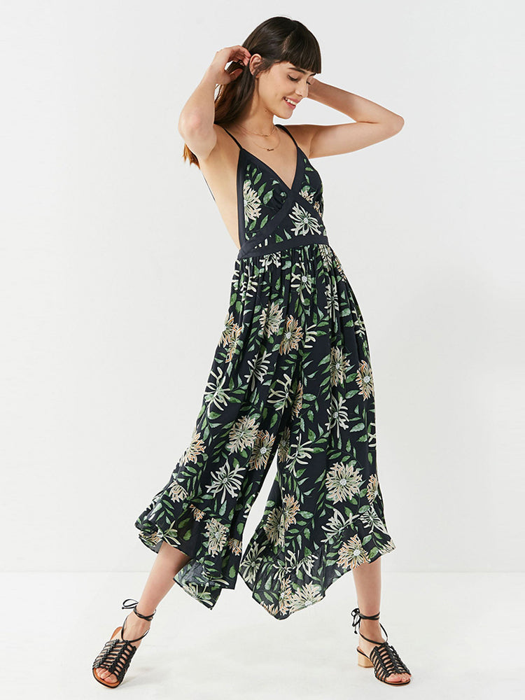 Beach Vacation Cross Strap Backless Printed Jumpsuit - sparshine