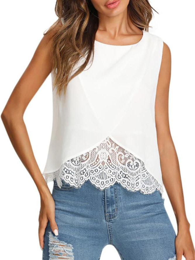 Elegant women's clothing White Hem Lace Vest