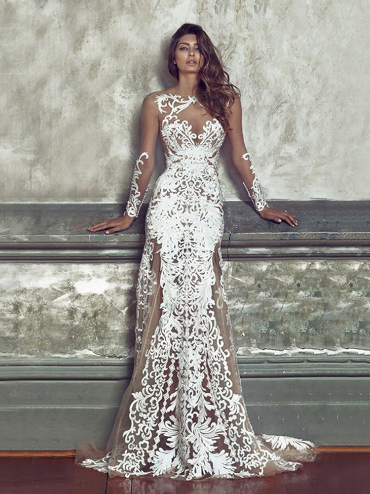 Long Sleeved Perspective White Lace Maxi Dress