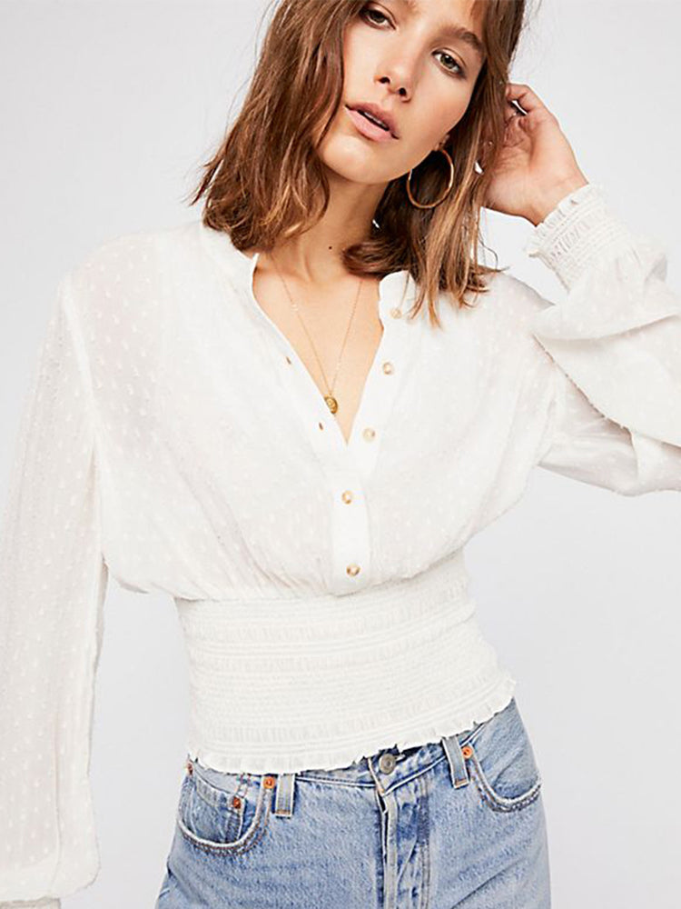 Perspective White Waisted Stand Collar Blouse