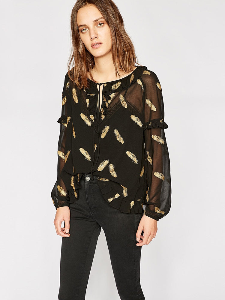Sexy Printed Perspective Chiffon Blouse