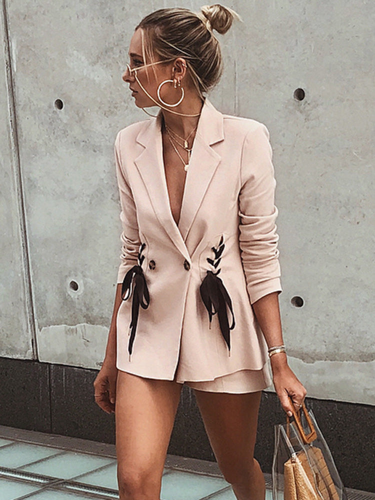 Fashion women' clothing pink lacing suit coat