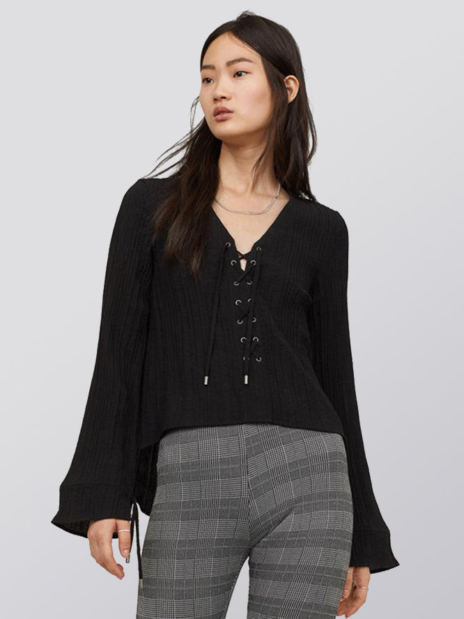 Lace Up Cuffs Drawstring Loose Blouse