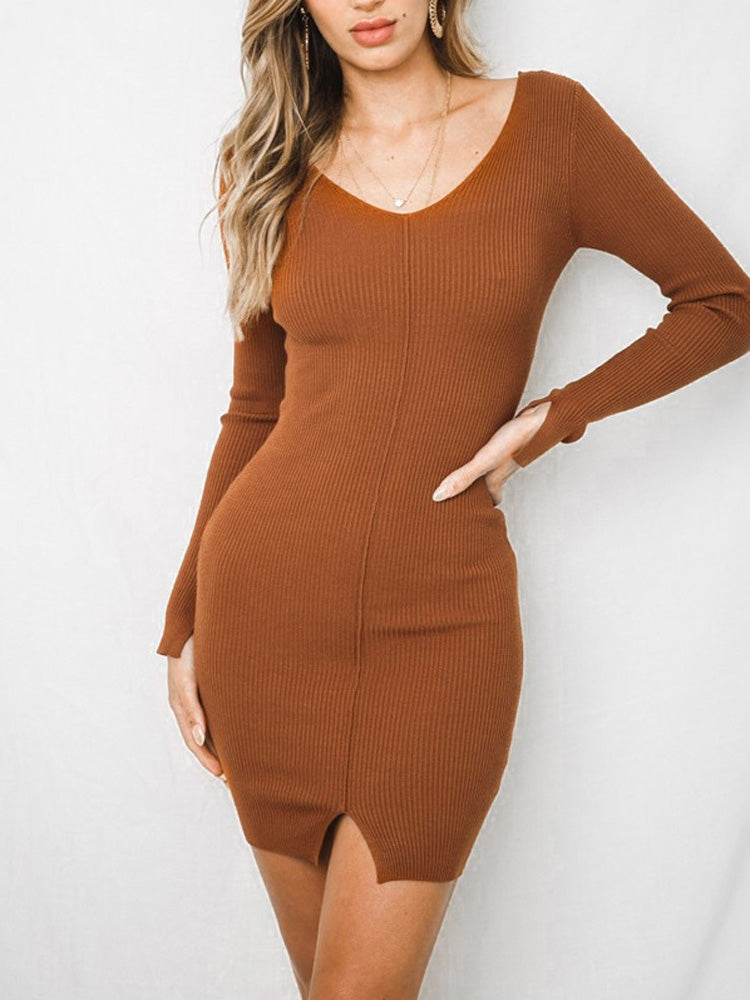 Fashion women' clothingknit V neck sweater dress