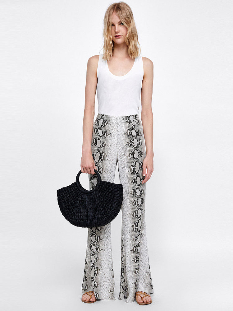 Snakeskin Printed Slim Flared Wide Leg Pants