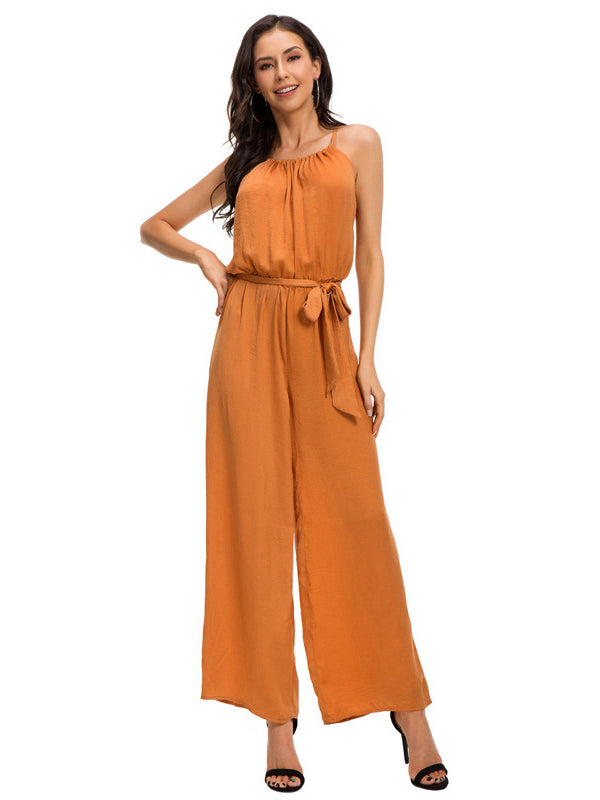 Long Pure Color Jumpsuit