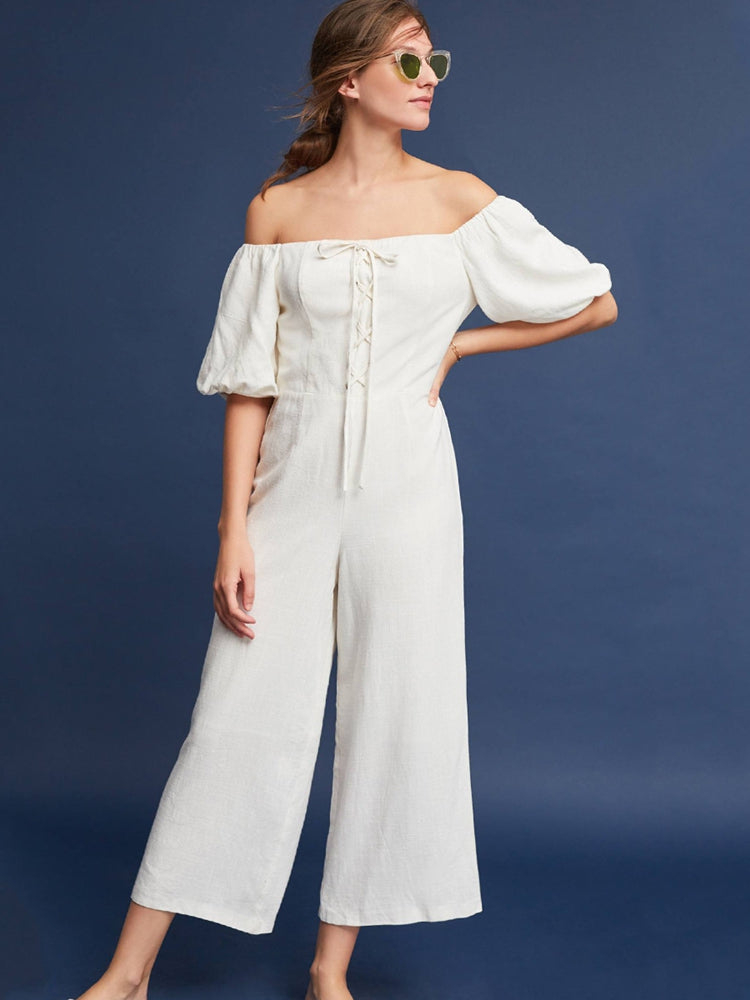 Sexy Off Shoulder Strapless Puff Sleeve Bow Tie Jumpsuit