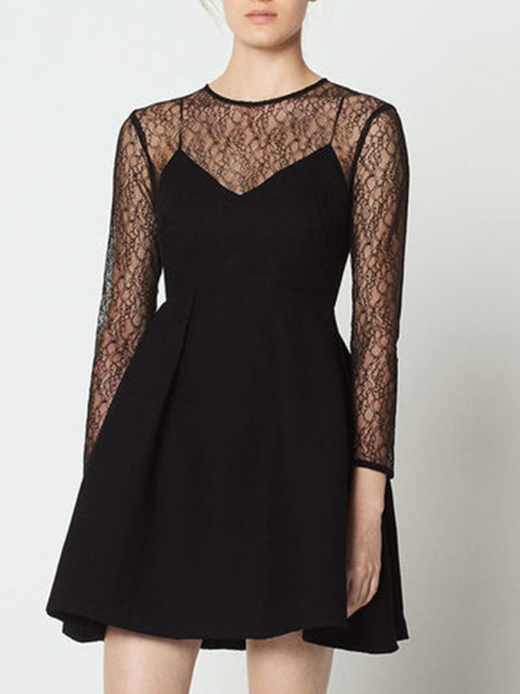 Rotator Sleeves Lace Stitching Perspective Dress