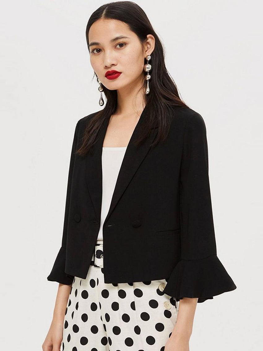Lapel Cropped Sleeves Ruffled Short Blazer