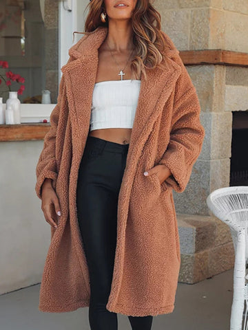 Long Sleeve Lamb Wool Winter Coat Tops