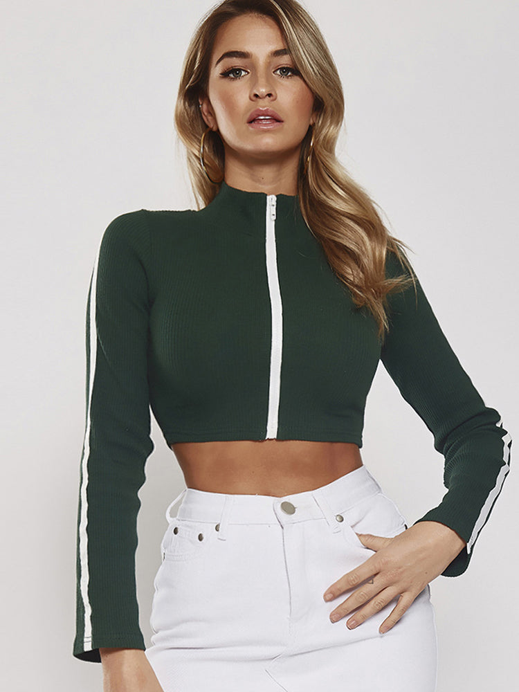 Tight-fitting High-neck Trumpet Sleeve Top