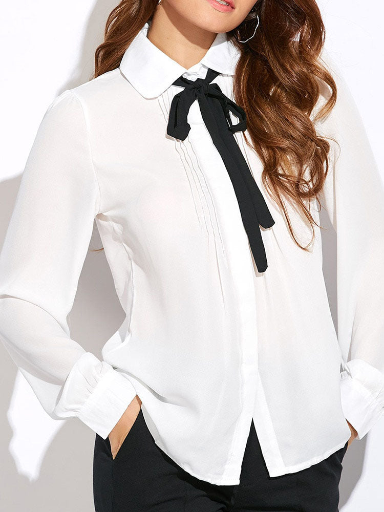 Trendy Clothes For Women Bandage Long Sleeve Work Blouse